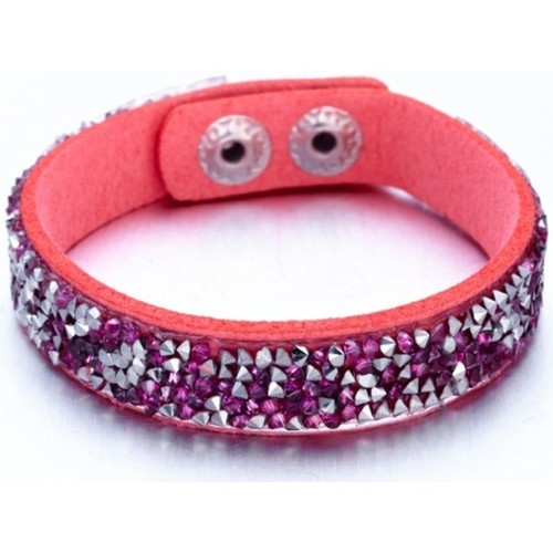 Watches Women Bracelets Blue Pearls Silvery and Fushia Swarovski Crystal Elements and Pink leather B Multicolored