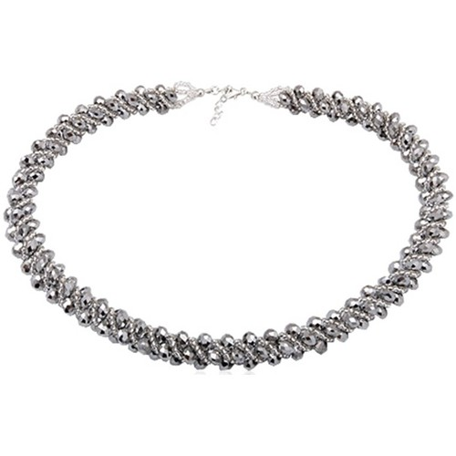 Watches Women Necklaces Blue Pearls Silver Crystal Necklace and 925 Silver Multicolored