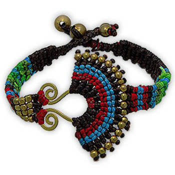 Watches Women Bracelets Blue Pearls Beads Brown Ethnic Bracelet and Gold Metal Multicolored