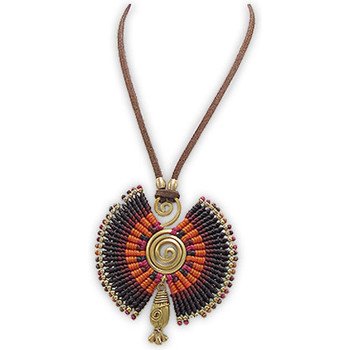 Watches Women Necklaces Blue Pearls Orange and Black Pearl Spiral Gold Metal Necklace Multicolored