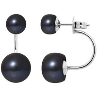 Watches Women Earrings Blue Pearls Black Double Freshwater Pearls Earrings and 925 Silver Multicolored
