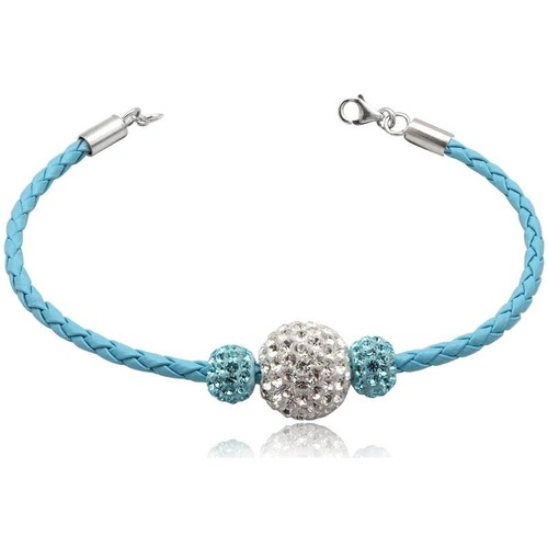 Watches Women Bracelets Blue Pearls Blue leather bracelet Blue Crystal Bead and 925 Silver Multicolored