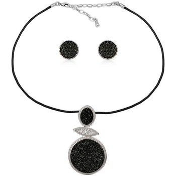 Watches Women Jewelerry sets Blue Pearls Black Druzy Crystal Necklace and Earrings Set Multicolored