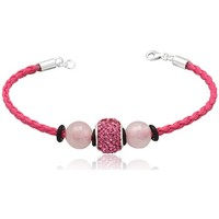 Watches Women Bracelets Blue Pearls Pink leather bracelet Pink Quartz and Pink Crystal Beads and 925 Multicolored