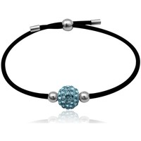 Watches Women Bracelets Blue Pearls Black Stretchy Bracelet Blue Crystal Bead and 925 Silver Multicolored