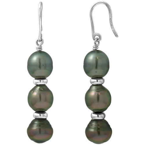 Watches Women Earrings Blue Pearls 3 Black Tahitian Pearls Dangling Earrings and Silver 925/1000 Multicolored