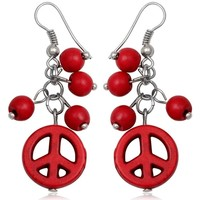 Watches Women Earrings Blue Pearls Red Coral Peace Dangling Earrings Other