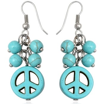 Watches Women Earrings Blue Pearls Turquoise Peace Dangling Earrings Other