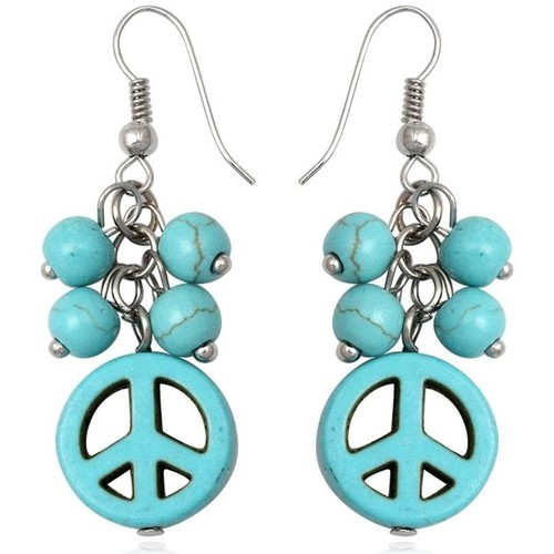 Watches Women Earrings Blue Pearls Turquoise Peace Dangling Earrings Multicolored