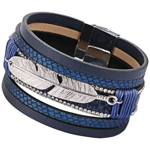 Watches Women Bracelets Blue Pearls Black Leather Feather Bracelet and Stainless SteelBlue Leather F Multicolored