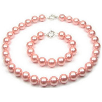 Watches Women Jewelerry sets Blue Pearls Pink Pearl Necklace and Bracelet Set and 925 Silver Multicolored