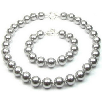 Watches Women Jewelerry sets Blue Pearls Grey Pearl Necklace and Bracelet Set and 925 Silver Multicolored