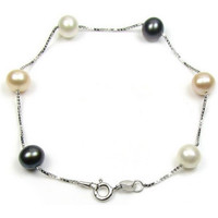 Watches Women Bracelets Blue Pearls Black, White and Lavender Freshwater Pearls Bracelet Multicolored