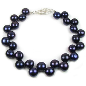 Watches Women Bracelets Blue Pearls Black Freshwater Pearl Bracelet and 925 Silver Multicolored