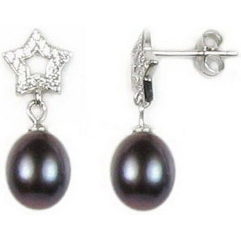 Watches Women Earrings Blue Pearls Black Freshwater Pearl Star Earrings and Silver Mounting Multicolored