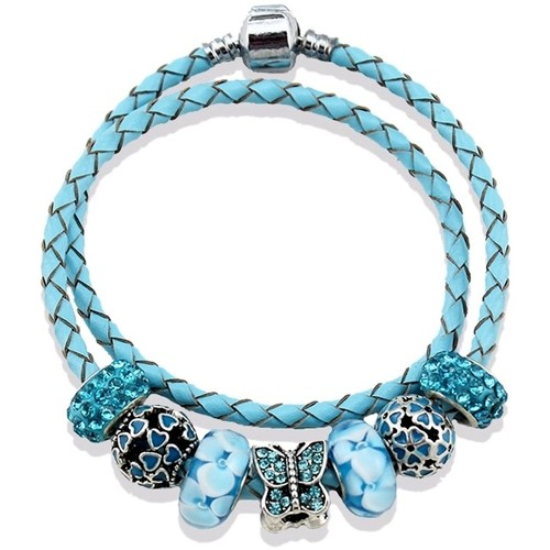 Watches Women Bracelets Blue Pearls Blue Leather Double Rows Charm's Bracelet and Stainless Steel Multicolored