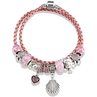 Watches Women Bracelets Blue Pearls Pink Leather Double Rows Charm's Bracelet and Stainless Steel Multicolored