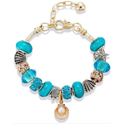 Watches Women Bracelets Blue Pearls Ocean Charm's and Beads Bracelet and Stainless Steel Yellow gold Multicolored