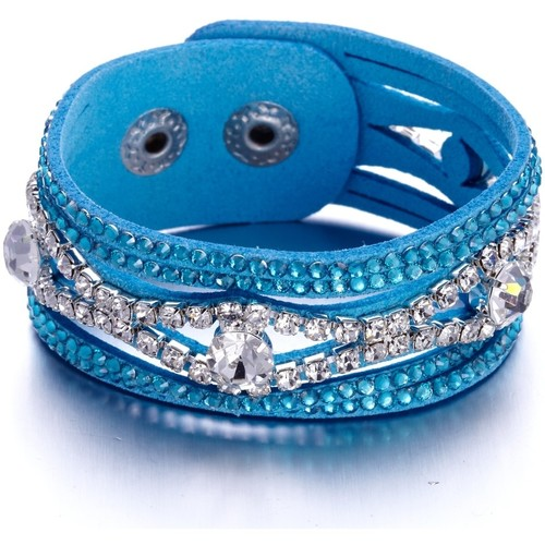 Watches Women Bracelets Blue Pearls Blue and White Swarovski Crystal Elements and leather Bracelet Multicolored