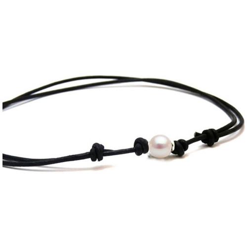 Watches Women Necklaces Blue Pearls White Freshwater Pearl Black Cotton and Silver Necklace Multicolored