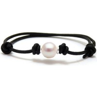 Watches Women Bracelets Blue Pearls White Freshwater Pearl, Black Cotton and Silver Bracelet Multicolored