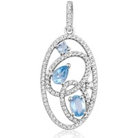 Watches Women Pendants Blue Pearls 111 White and Blue Swarovski Zirconia Crystal Pendant and 925 Si Multicolored