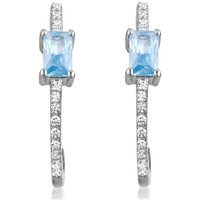 Watches Women Earrings Blue Pearls 28 White and Blue Swarovski Zironia and 925 Silver Earrings Multicolored