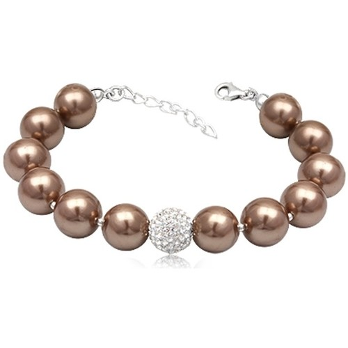 Watches Women Bracelets Blue Pearls Golden Brown Pearls White Crystal Bead and 925 Silver Bracelet Multicolored