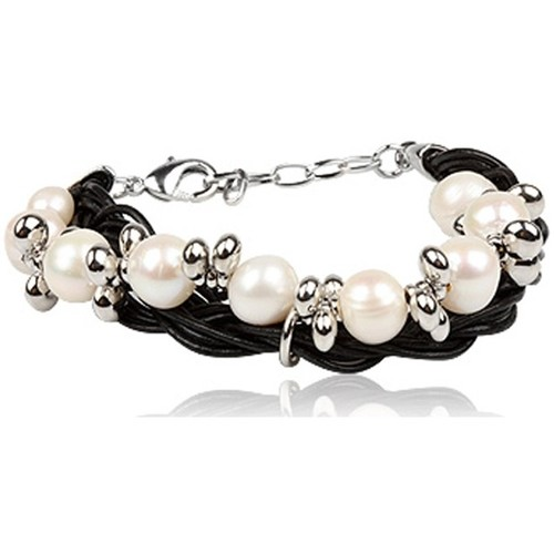 Watches Women Bracelets Blue Pearls Black Double strands leather and White pearl bracelet Multicolored