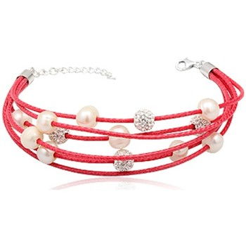 Watches Women Bracelets Blue Pearls Pink 5 rows leather Bracelet, White Pearls White Crystal and 925 Multicolored