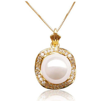 Watches Women Pendants Blue Pearls White Freshwater Pearl and Cz Stone Pendant and yellow Gold Moun Multicolored