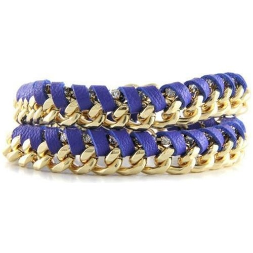 Watches Women Bracelets Blue Pearls Ettika - Blue Leather Ribbons, Crystal and Yellow Gold Bracelet Multicolored