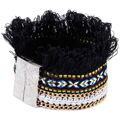 Watches Women Bracelets Blue Pearls Black Fringed Cotton Bracelet and Stainless Steel Multicolored