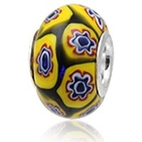 Watches Women Pendants Blue Pearls Yellow Murano Glass Charms Bead and 925 Silver Silver