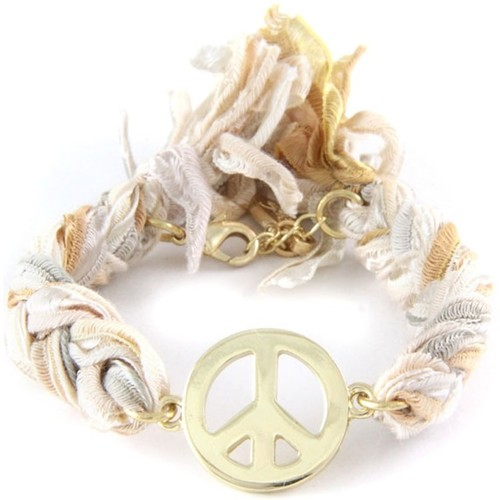 Watches Women Bracelets Blue Pearls Ettika - Multicolor Ribbons and Yellow Gold Peace and Love Brace Multicolored