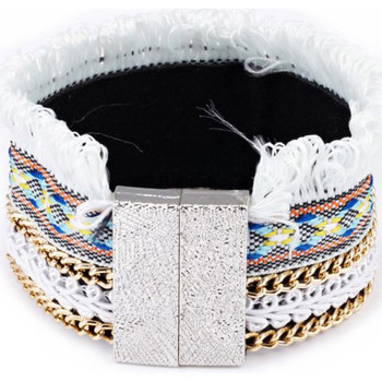 Watches Women Bracelets Blue Pearls White Fringed Cotton Bracelet and Stainless Steel Multicolored