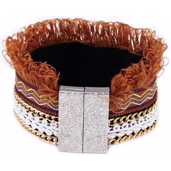 Watches Women Bracelets Blue Pearls Brown Fringed Cotton Bracelet and Stainless Steel Multicolored