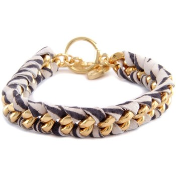 Watches Women Bracelets Blue Pearls Ettika - Printed Zebra Ribbons and Yellow Gold Bracelet Other