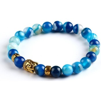 Watches Women Bracelets Blue Pearls Turquoise Natural Stones Stretch Men - Women Bracelet and Gold B Multicolored