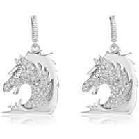 Watches Women Earrings Blue Pearls 148 White Swarovski Crystal Zirconia Horse Earrings and 925 Silv Multicolored