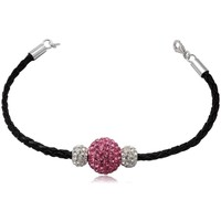 Watches Women Bracelets Blue Pearls Black Leather Bracelet, White and Pink Crystal Beads Multicolored