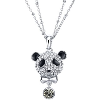 Watches Women Necklaces Blue Pearls Black Diamond Swarovski Crystal Elements Crystal Panda Pendant a Multicolored