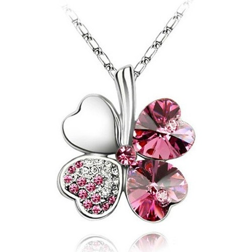 Watches Women Pendants Blue Pearls Clover Pendant made with a Pink Crystal from Swarovski Multicolored