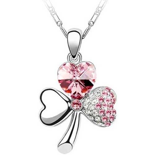 Watches Women Pendants Blue Pearls Clover Pendant made with Pink Crystal from Swarovski Multicolored