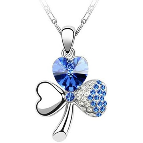 Watches Women Pendants Blue Pearls Clover Pendant made with a Blue Crystal from Swarovski Blue