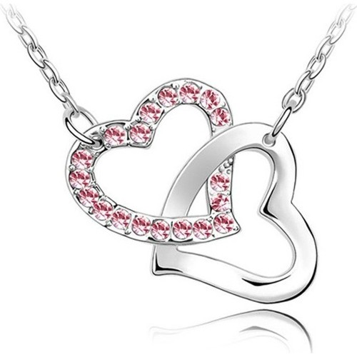 Watches Women Necklaces Blue Pearls Double Heart Necklace made with a Pink Crystal from Swarovski an Multicolored