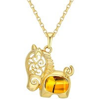 Watches Women Pendants Blue Pearls Yellow Swarovski Crystal Elements Horse Pendant and Yellow Gold Multicolored