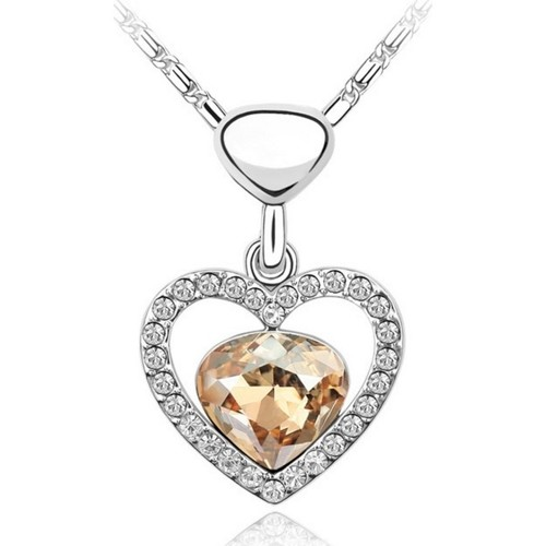 Watches Women Pendants Blue Pearls Heart Necklace made with a Crystal from Swarovski Multicolored
