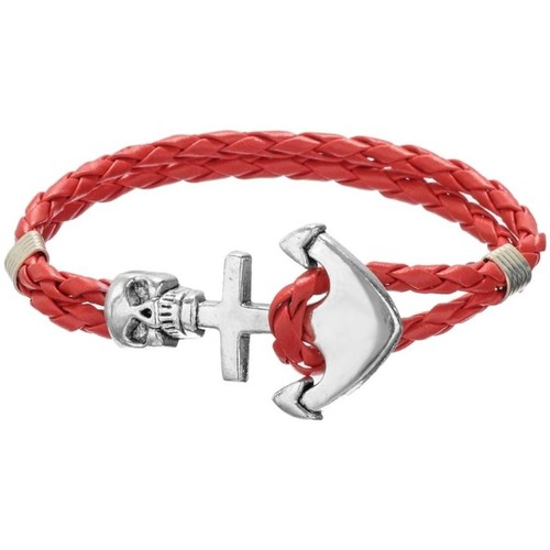 Watches Women Bracelets Blue Pearls Red Braided Leather Anchor and Skull Stainless Steel Man Bracele Multicolored