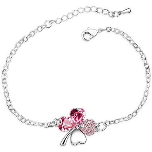 Watches Women Bracelets Blue Pearls Clover Bracelet made with a Pink Crystal from Swarovski Multicolored
